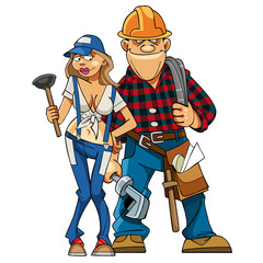 cartoon couple plumbers