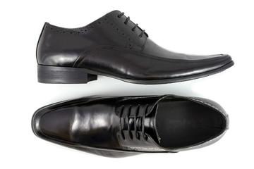 black leather man boot