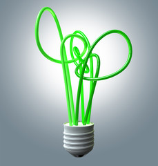 Light Bulb Green Energy Flourescent