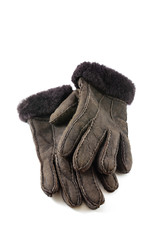 winter gloves made of natural fur