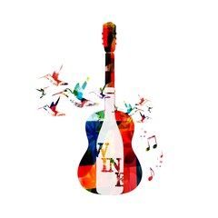 Colorful vector guitar and wine bottle