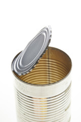 Empty tin can opening