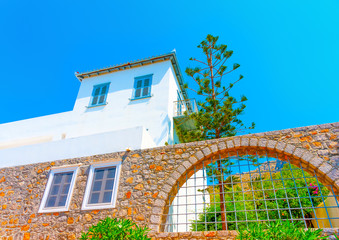 Beautiful old traditional house at Hydra island in Greece