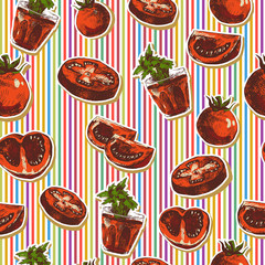 Hand Drawn Seamless Pattern with Tomatoes