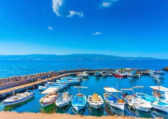 Kamini port a beautiful village in Hydra island in Greece