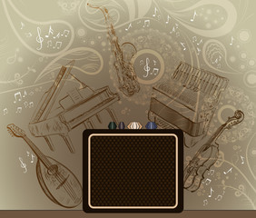 Abstract brown background with musical instruments