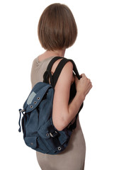blue rucksack is on woman