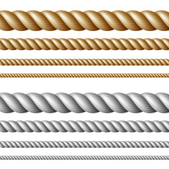 Set of ropes, isolated on white
