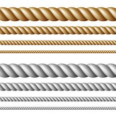 Set of ropes, isolated on white