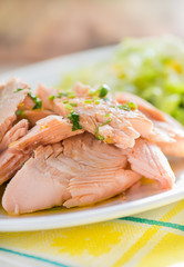 Poached pink salmon