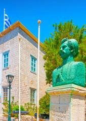 Cooper made statue at Hydra island in Greece