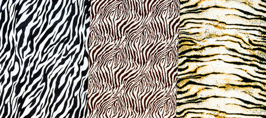 The fabric on striped zebra and tiger
