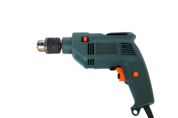 Electric drill on white background, clipping path included