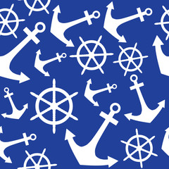 Anchor and rudder, seamless pattern