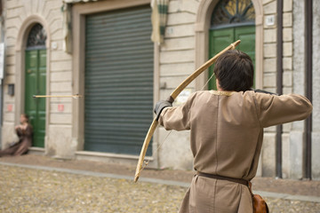 medieval archer shooting