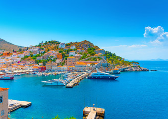 part of the pictorial main port of Hydra island in Greece