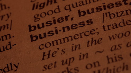 Word Business in a dictionary. Lit with a spotlight. Five simila