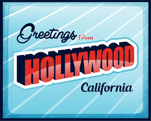 Vintage Touristic Greeting Card Hollywood