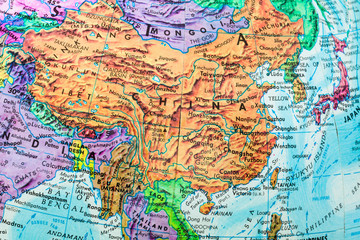 Old Globe Map of China
