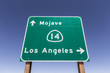 Mojave Desert Freeway Sign to Los Angeles