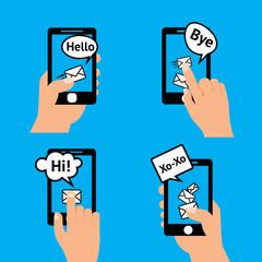 Hand smartphone message