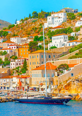 beautiful sailing yacht in the port of Hydra island in Greece