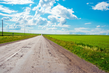 View of rural road and blue  sky