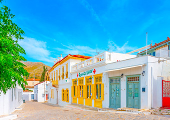 old beautiful buildings and houses in Hydra island in Greece