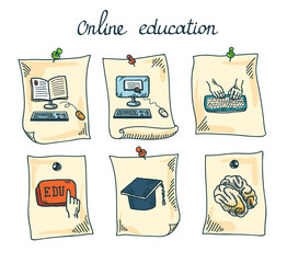 Online education sticker set