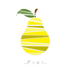 Vector of fruit, pear icon on isolated white background
