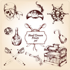 Pirates decorative icons set