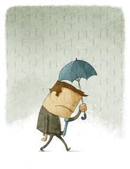 Illustration of Depressed Businessman walking under umbrella