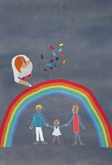 Children's colorful drawing of a family