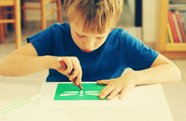 cute 6 years old boy drawing