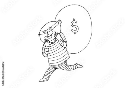 Cartoon Thief Running Thief Running Money Bag