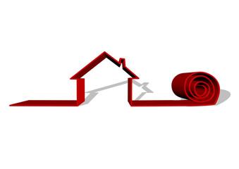 gölgeli kırmızı ev