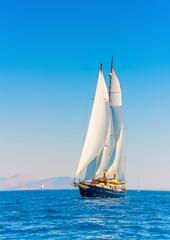 A Big 3 mast classic sailing boat in Spetses island in Greece