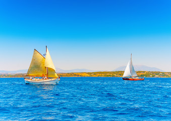 2 classic wooden sailing boats in Spetses island in Greece