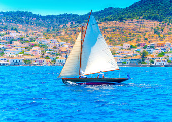 Classic wooden racing sailing boat, in Spetses island in Greece