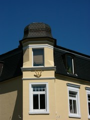 Erker eines Eckhaus in Oerlinghausen im Teutoburger Wald