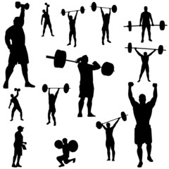 weightlifting in silhouettes, sportsmen with barbells, rods