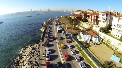 Harem Street, Bosporus and Maidens Tower. Aerial