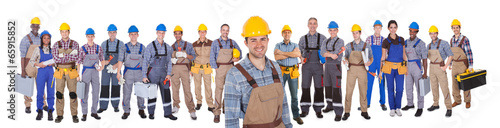 Construction Worker With Colleagues Over White Background - 65915852