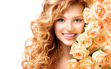 Fototapety Beauty teenage model girl with curly long hair