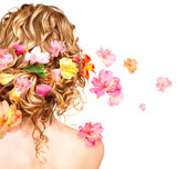 Hairstyle with colorful flowers. Haircare concept. Backside view poster