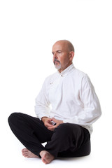 Mature male meditate