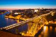 Dom Luiz bridge Porto at dusk