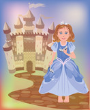 Beautiful little princess Cinderella, vector illustration poster