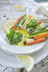 Presentation of mixed vegetables