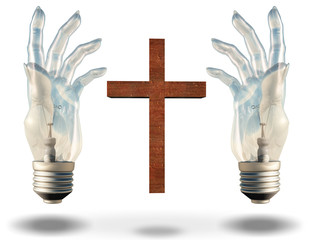 Hand shaped light bulbs frame a cross